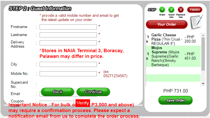 Shakey's delivery personal informations sheet