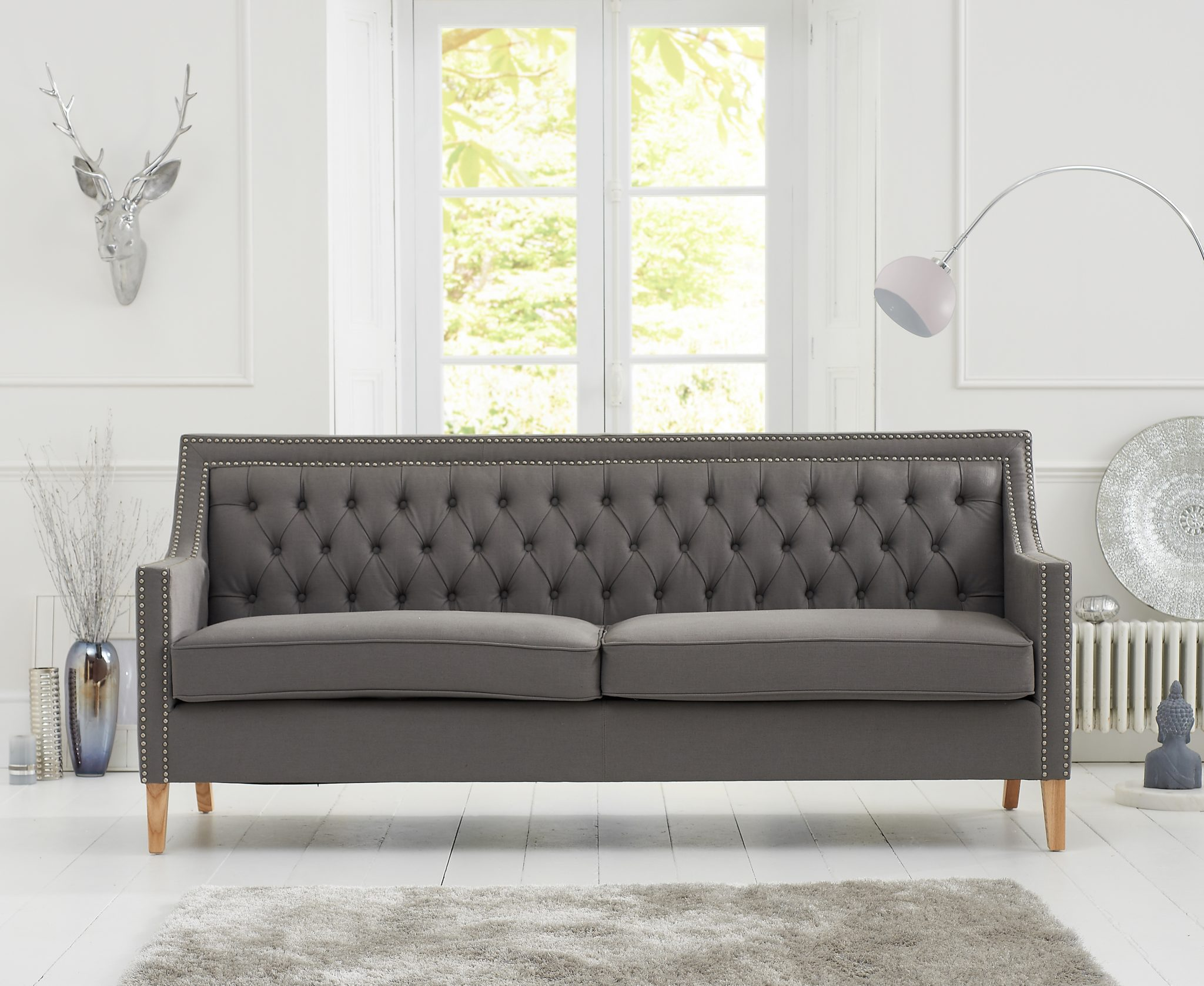 Chesterfield Casa Bella Grey Fabric 3 Seater Sofa Natural Ash Wood Legs