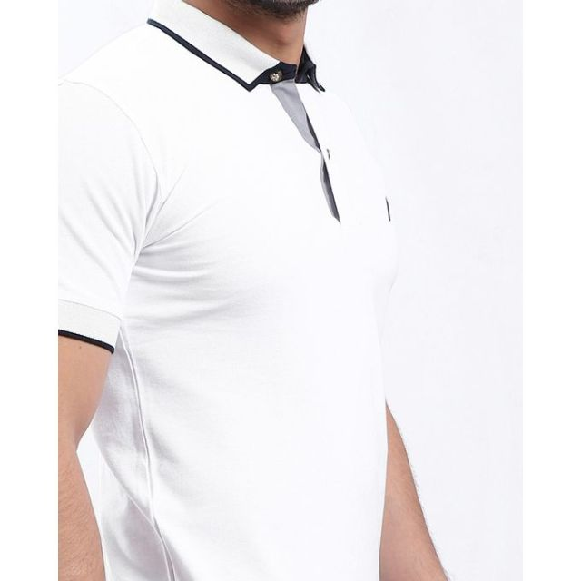 Merch Polo Shirt With Contrasting details - White