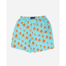 Boats Swim Short - Light Blue & Orange