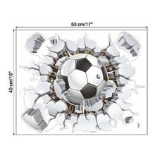 3D Broken Wall Football TV Background Wall Decoration Removable Wall Stickers-Black