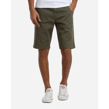 Casual Plain Shorts - Dark Olive Green