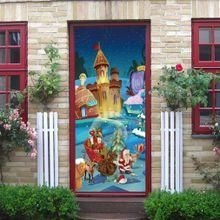 TA Christmas Wall Stickers Mural Bedroom Decor Cartoon Door Sticker-Multi-color