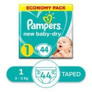 Pampers حفاضات بيبي دراي  - حديثي الولادة - مقاس 1 - 2 - 5 كجم - 44  حفاضة