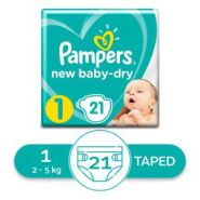 Pampers حفاضات بيبي دراي  - حديثي الولادة - مقاس 1 - 2 كجم - 5 كجم - 21  حفاضة