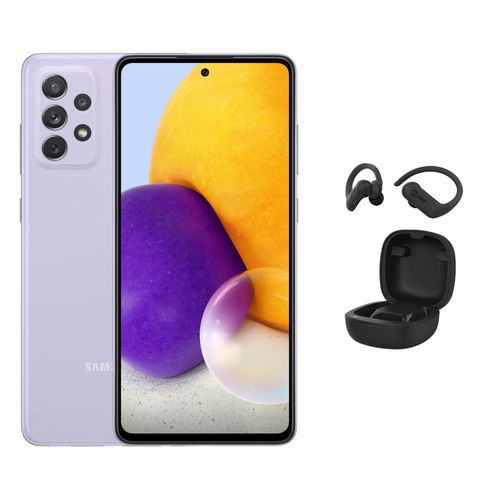 Galaxy A72 - 6.7-inch 256GB/8GB Dual Sim 4G Mobile Phone - Awesome Violet + T6 Wireless Smart Earbuds