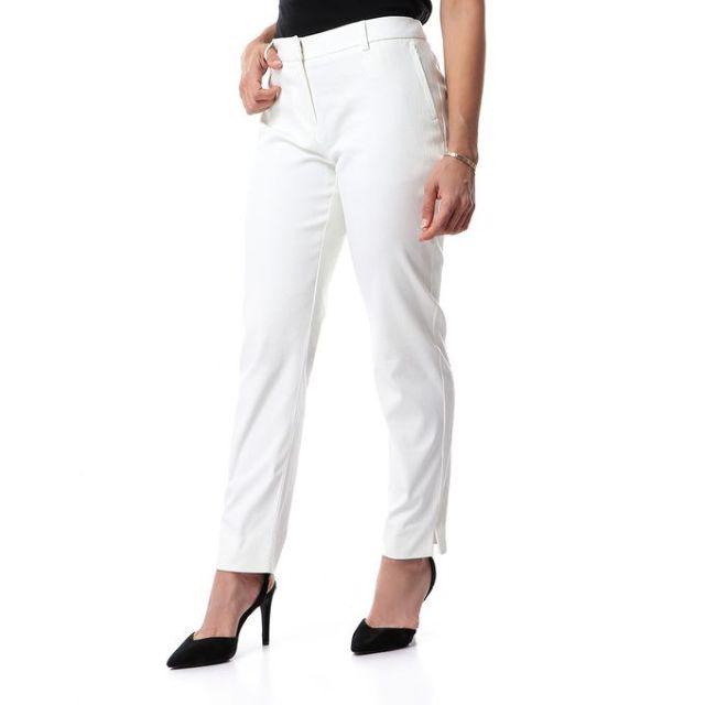 product_image_name-Dalydress-بنطلون كلاسيك منقوش بنفس اللون مع جيوب جانبيه - اوف وايت-2