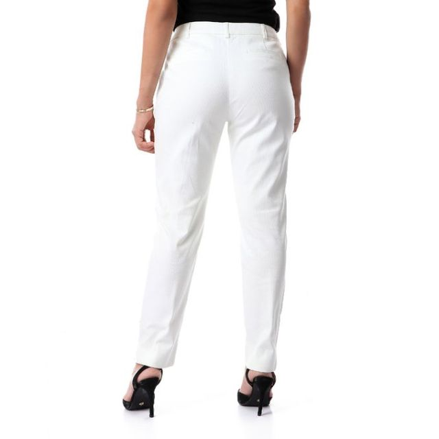 product_image_name-Dalydress-بنطلون كلاسيك منقوش بنفس اللون مع جيوب جانبيه - اوف وايت-3