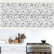 TA Cz10P026 Gray Mosaic Tile Stickers Set Of Ten-CZ10P026