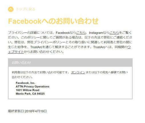 facebookへのお問合せ