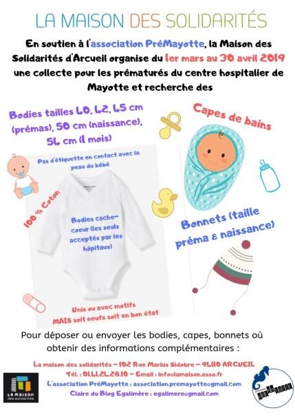 collecte de bodies capes de bains et bonnet pour PréMayotte