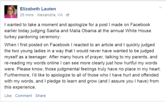 Elizabeth Lauten apology