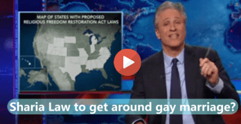 Jon Stewart - Oklahoma Christian Politicians Passing Sharia Law to get around gay marriage