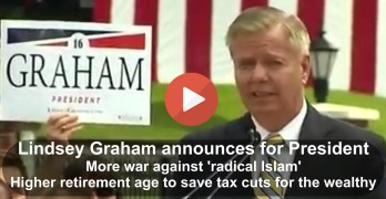 Lindsey Graham 'declares war' on Social Security & 'Radical Islam' as he announced for President (VIDEO)