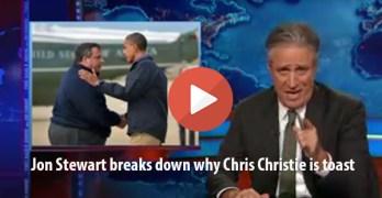 Jon Stewart skewers Chris Christie as 2nd to Donald Trump (VIDEO)