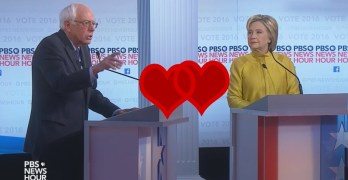 The Democratic Debate at times was like Valentine's Day for Hillary & Bernie