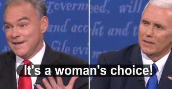 Tim Kaine & Mike Pence on women's right to choose VP Debate (VIDEO)
