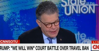 Watch Al Franken define Trump actions as terroristic and then pulls back (VIDEO)