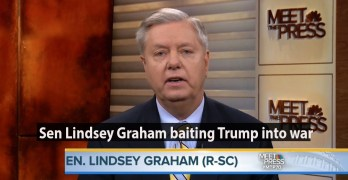 Sen. Lindsey Graham bating Trump into war Assad is saying, F you