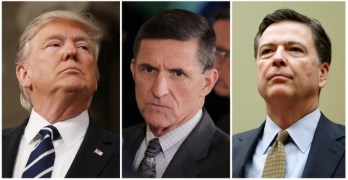 Russia FILE PHOTO: A combination photo shows U.S. President Donald Trump, White House National Security Advisor Michael Flynn and FBI Director James Comey in Washington
