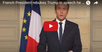 French President rebuked Trump in speech he gives in English (VIDEO)