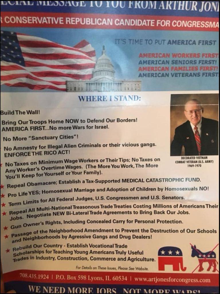 Trump Effect Illinois GOP Holocaust denier candidate vile racist flyers 3