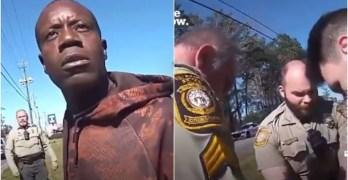 Police Why #DefundPolice? Innocent black man's wrist broken by violent inhumane police takedown.
