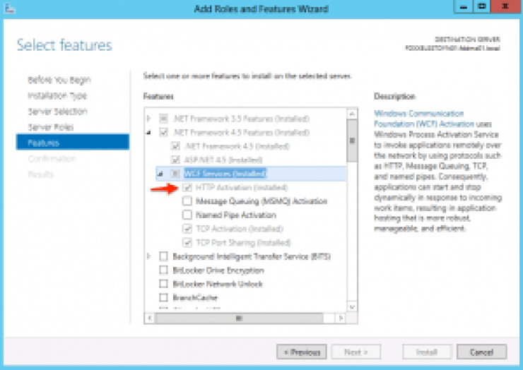 Enable WCF Windows Server 2012