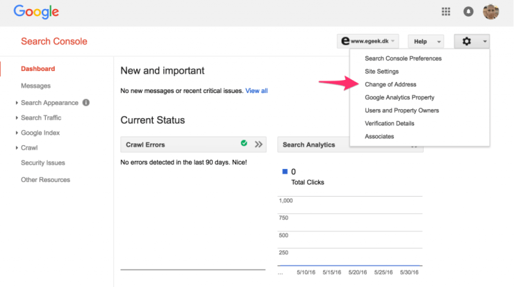 Google Search Console - Change address