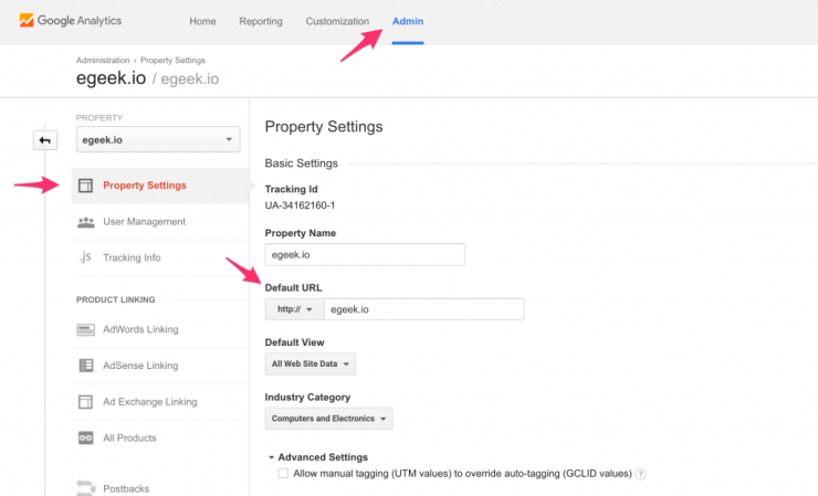 Google Analytics - Change Property Default URL
