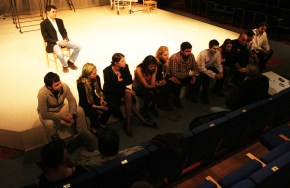 """Getting notes from director Zurab Sikharulizde, Bilkent Theater during the production of Nazim Hikmet's """"Despite All"""" - Class of 2006"""