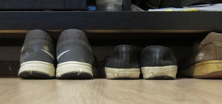 Shoes under wardrobe in bedroom three