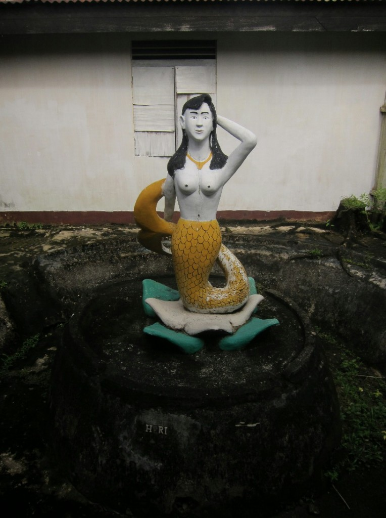 A mermaid statue at the Serawai police station