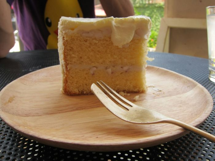 Coconut cake: there was coconut cream mixed with whole cream for the topping, shaved coconut flesh in the layers, and the cake was moist and dense. One wasn;t enough.
