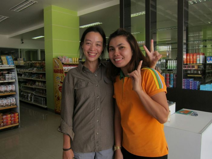 "This is Om, who worked at Limpipong, a fancy-ish miniature supermarket that we found ourselves at almost daily. ""You look like each other"", Om said to us, which is the first time we've heard that..."