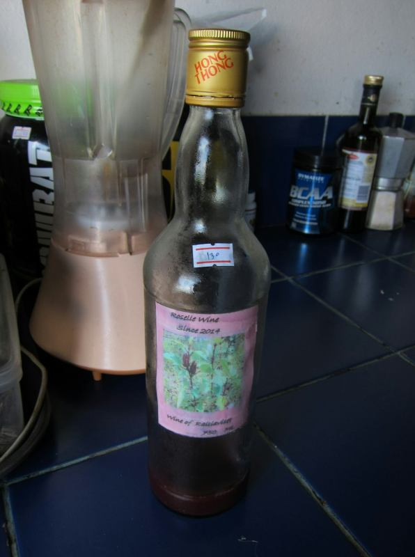 This is a local roselle wine, made on Ko Pha Ngan island by a woman who grows the ingredients herself.