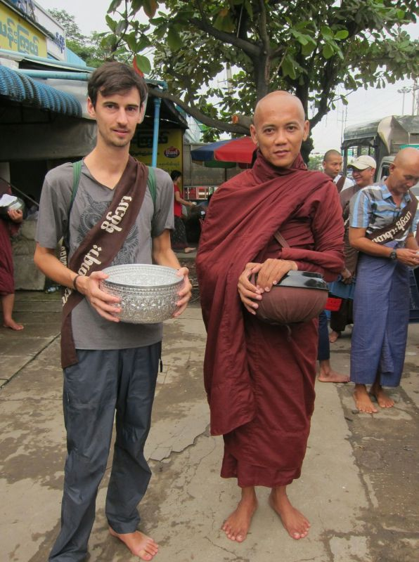 "Our first alms round involved driving into Yangon city. My job was to hold the money bowl. ""You must stand on my left,"" said the head monk. ""Okay,"" I said, and stayed where was on his right. ""No, left,"" he said. ""Oh, right, other left,"" I said, sheepishly, and moved."