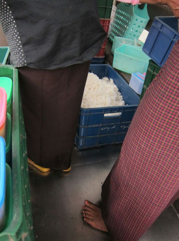 One of several tubs of cooked rice. We also collected a couple of sacks worth of dry rice.