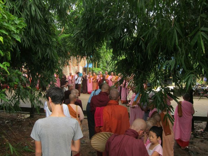 Our second alms round was just through the ThaBarWa centre, so we got to see a lot of the village. The head of the line was Sayadaw himself, so it was a big deal. Kind of like when a royal family member visits New Zealand, except with less kissing of babies, and no smiles.