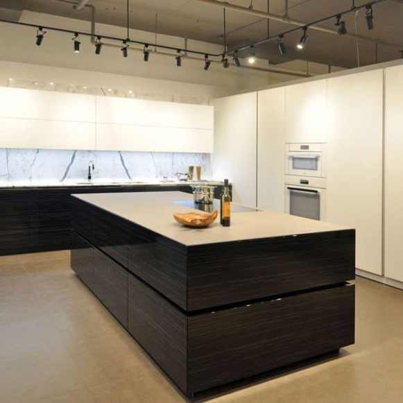 contemporary black and white kitchen at eggersmann florida showroom
