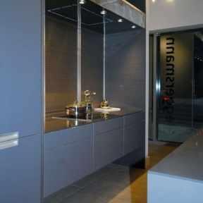 modern gray kitchen by eggersmann on display at studio Toronto