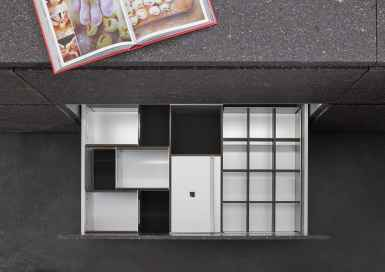 BoxTec - Smoked Oak storage bins, paper towel dispenser, bottle grid storage