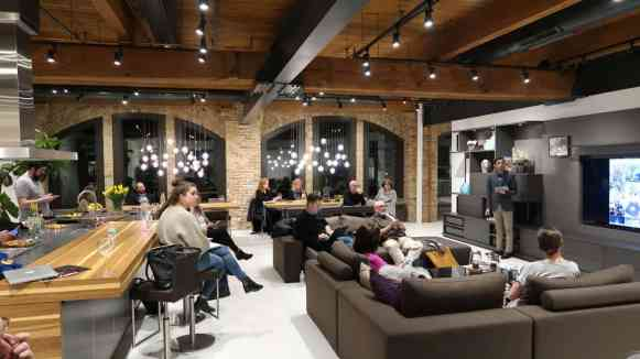 instagram insights for business workshop attendees listen attentively in the eggersmann chicago showroom