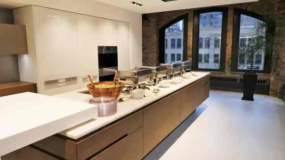 buffet dinner for the instagram insights for business workshop in one of the kitchens at eggersmann chicago