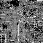 black and white map of los angeles indicating location of an eggersmann showroom