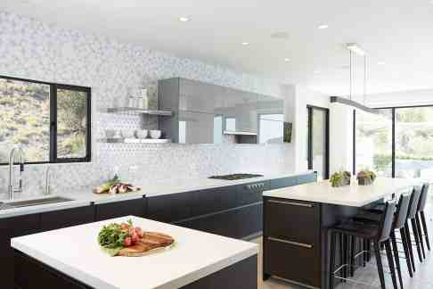 moussa kitchen project completed by eggersmann la features 2 separate kitchen islands