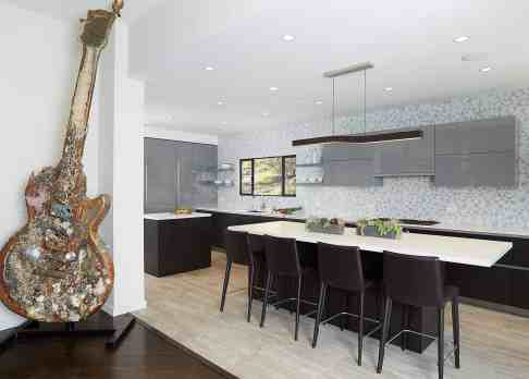 unique guitar art in the moussa kitchen project completed by eggersmann la