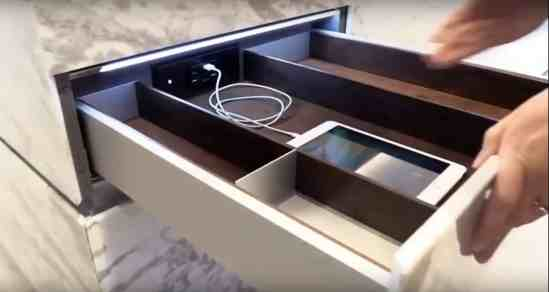 eggersman boxtec drawer organization for in-drawer electrical outlet for charging electronics
