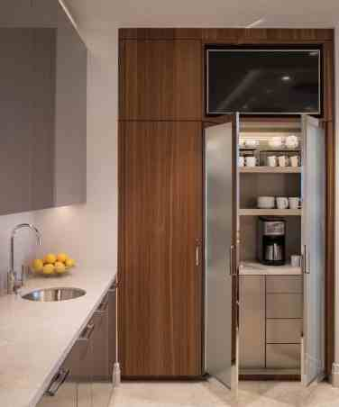 eggersmann hideaway coffee bar with frosted glass doors
