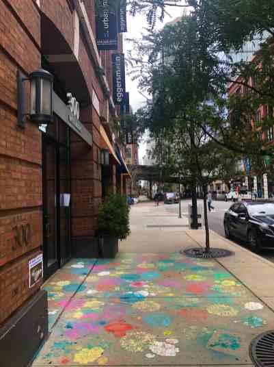 sidewalk chalk art outside the eggersmann kitchens chicago showroom during the rndd gallery walk 2019